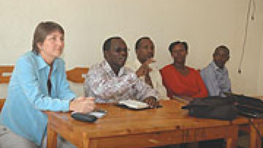 IT'S OURS:  Rwanda Journalists' Association president Gaspard Safari (2nd left) stresses a point during the meeting yesterday as other officials look on. (Photo/ F .Goodman)
