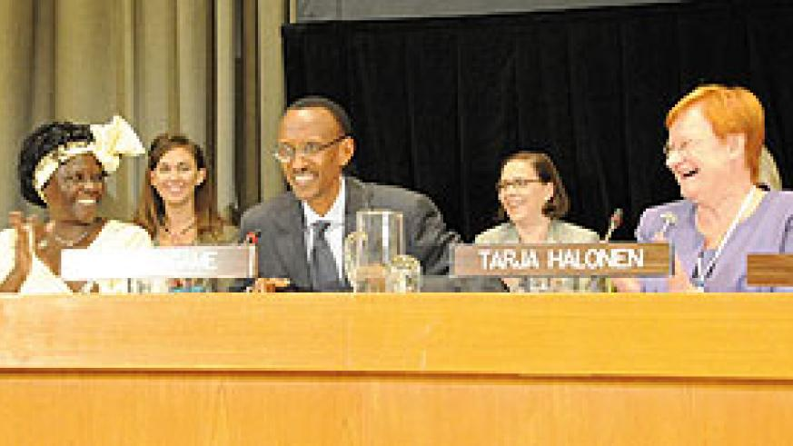 President Kagame addressing the peace and security through women's leadership forum yesterday (Photo/ Urugwiro Village)