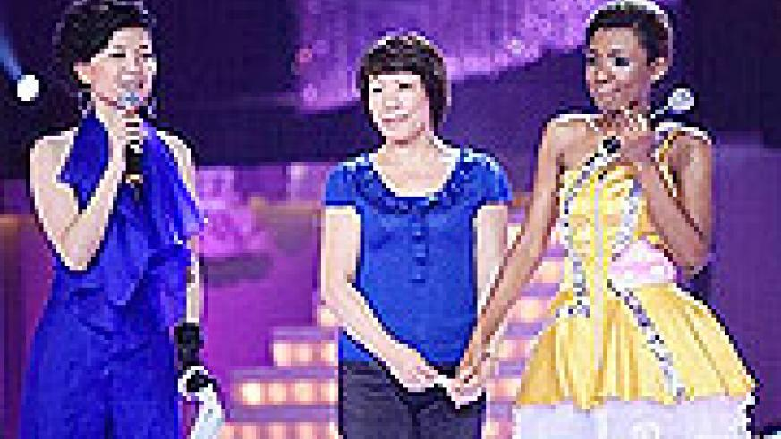 Lou Jing, with her Chinese mother at the talent show.