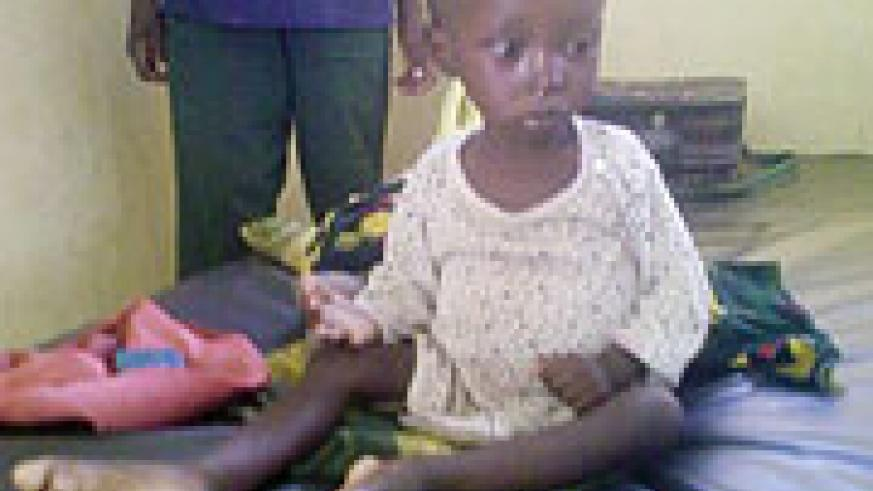 A child who is among those admitted at Bugarama health centre after being infected with cholera . (Photo / S. Mugisha)