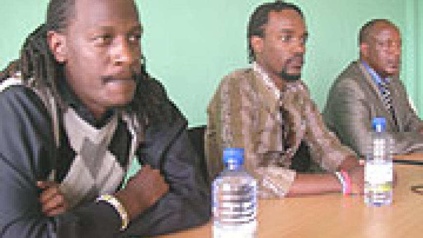 (L-R)  Tumayine, Christian and Joseph Bizima (Alpha's Dad) at the press conference.