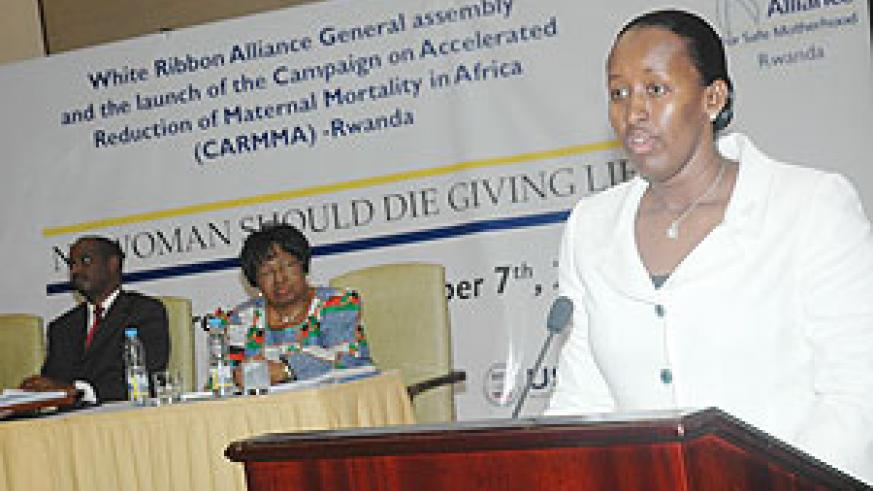 First Lady Jeannette Kagame speaking at the launch of the Campaign for Accelerated Reduction of Maternal Mortality in Africa (CARMMA) yesterday. (Photo J Mbanda)