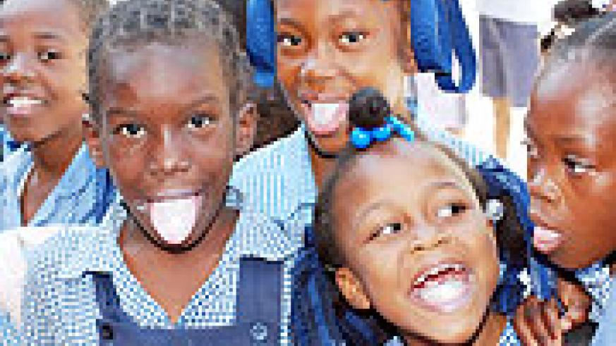 De-worming; children are given medication to fight intestinal parasites.