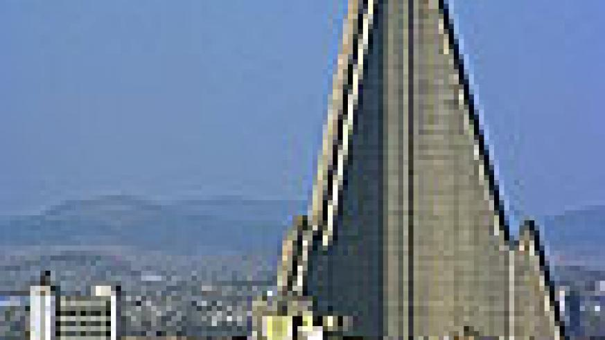 The Ryugyong Hotel dominates North Korea's capital Pyongyang