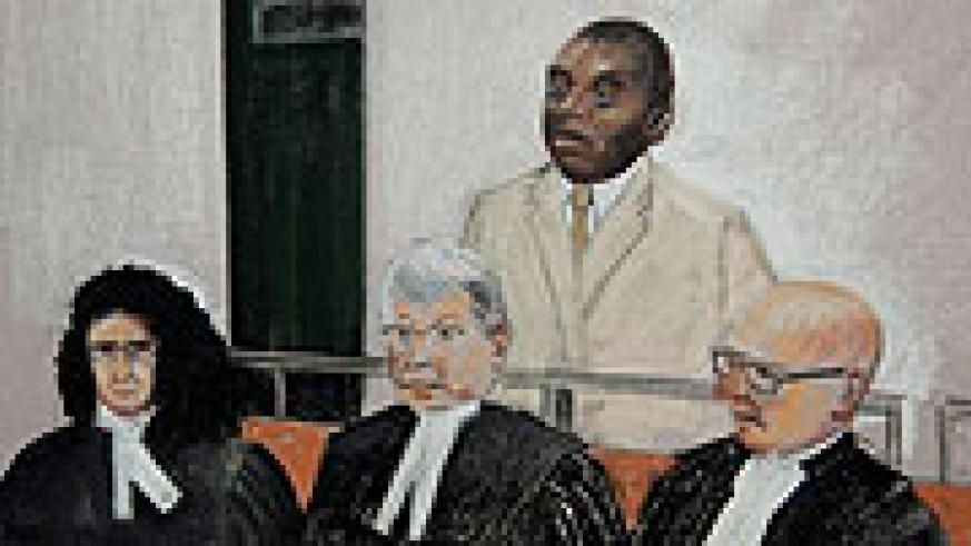 An artistic impression on sentenced genocidaire Désiré Munyaneza in a Canadian court