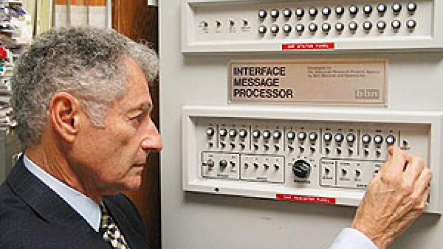 Professor Leonard Kleinrock poses with the first Interface Message Processor. He could never imagined Facebook, Twitter, or YouTube that day 40 years ago when his team gave birth to the internet. (AFP/ getty images)