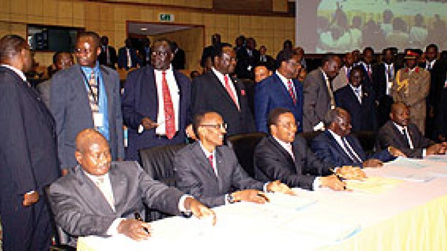 The five Heads of State of the EAC at the signing of the Common Market Protocol in Arusha, Tanzania yesterday (Photo Urugwiro Village)