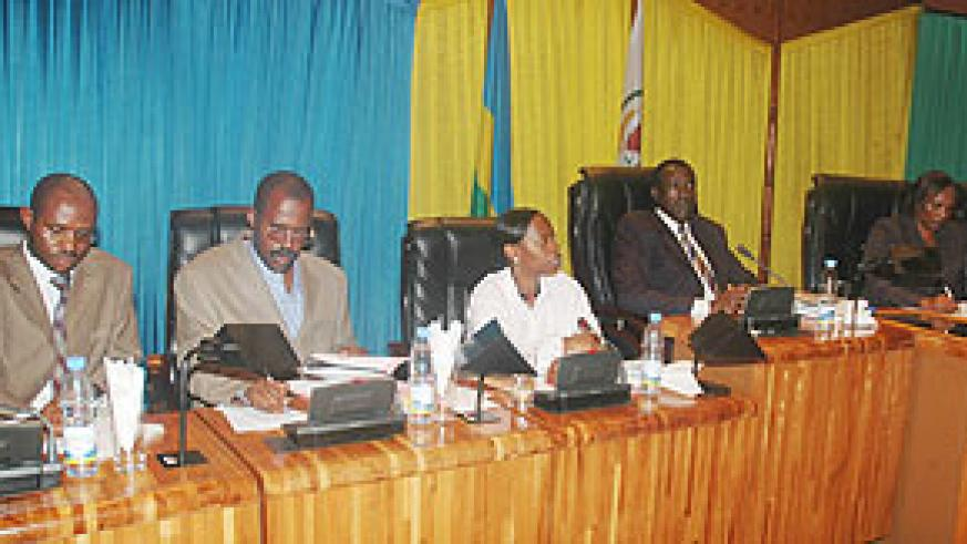 Trade Minister Monique Nsanzabaganwa (3rd left) appearing before parliament yesterday (Photo F Goodman)