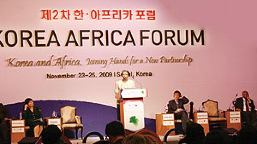 The Minister of Foreign Affairs and Cooperation, Rosemary Museminali addressing the Korea-Africa Forum in Seoul.