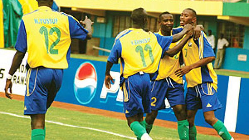 Junior Wasps players celebrate during the 2009 Africa Youth Championship. Most of these players have been drafted into Amavubi's provisional squad for the Challenge Cup.