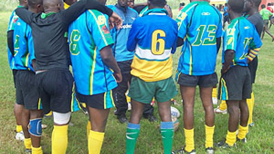 UP FOR THE CHALLENGE: Silverbacks having a pep talk during this year's Hima-Mak 10s tourney in Uganda. The team left for Kenya yesterday to take part in the Prinsloo Nakuru 7s. (File photo)