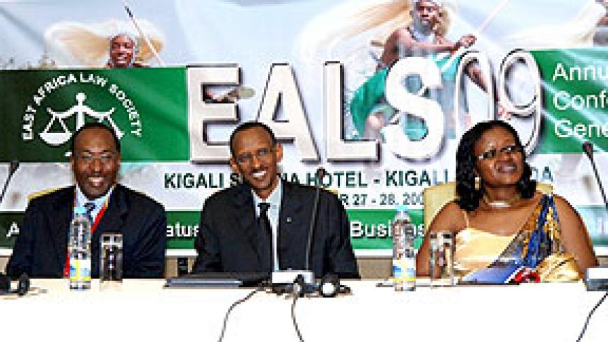 President Kagame with Monique Mukaruliza, Minister for East African Community and Dr. Alan Shonubi, President of the East Africa Law Society (EALS) at the opening ceremony of the 14th Annual East African Law Society Conference held in Kigali