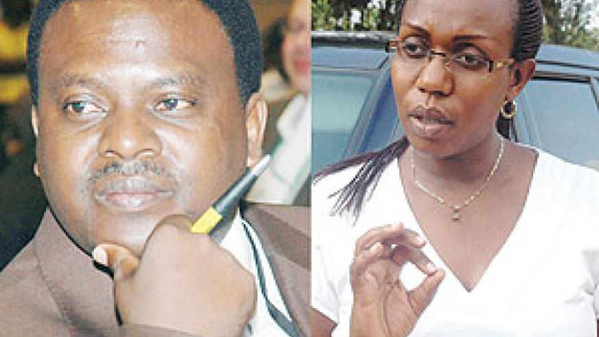 L-R : RESIGNED: Origene Rutayisire;OUT OF OFFICE: Claudine Nyinawagaga