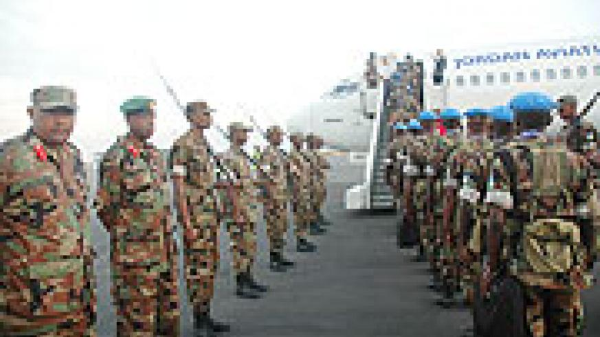 RDF troops departing for Darfur on a peacekeeping mission in the past. Three troops were killed in an ambush yesterday (File Photo)