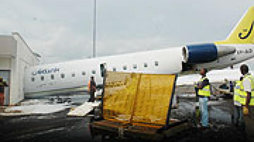 The aircraft wet-leased by RwandaAir from Jetlink that recently crashed at the Airport. The airliner will today import its own jet