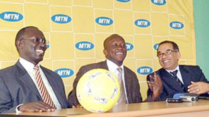MTN CEO Khaled Mikkawi (R), Sports and Culture Minister Joseph (C) Habineza and MTN COO Andrew Rugege addressing the media on Monday at Amahoro stadium.(Photo / B. Mugabe)