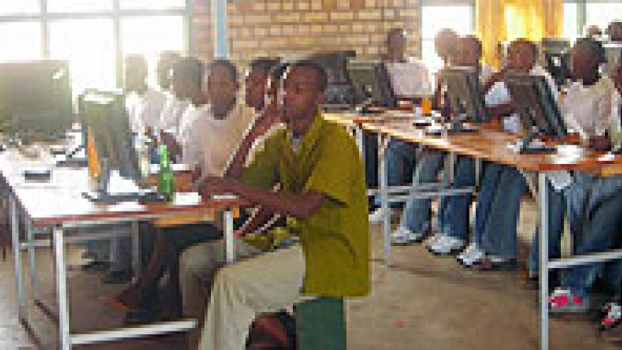 Some of the pupils who completed training in basic computer skills sponsored by Imbuto foundation. (Photo: P. Ntambara)