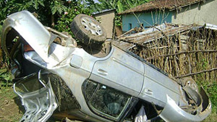 The mangled wreck of the car invloved in the accident on  Christmas eve (Photo: S. Nkurunziza)