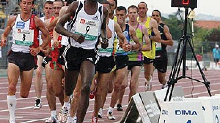 Rwanda's Dieudonne Disi leading 5000m pack at the France national athletics championship early this year.
