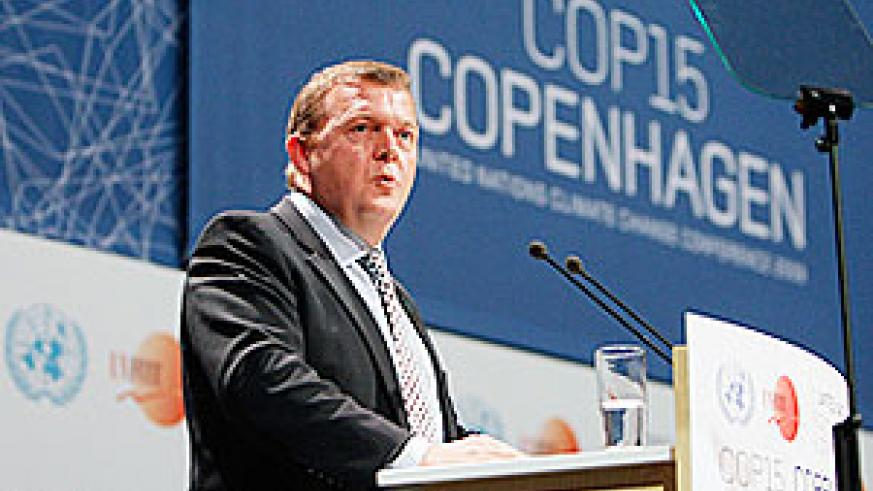 Lars Loekke Rasmussen, Prime Minister of Denmark, speaks during the opening ceremony of the Climate Conference in Copenhagen, Denmark on Monday.