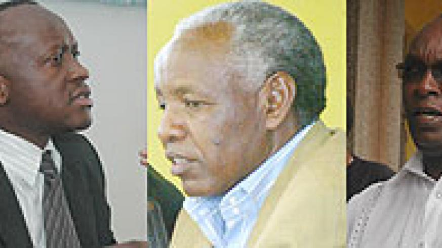 L-R : Sports Minister Joseph Habineza had no kind words for Beraho and his executive committee.;OUT: Ignace Beraho;IN:New RNOC  boss Charles Rudakubana has promised to have a close working relation with the Sports Ministry.