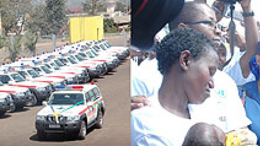 L-R : A fleet of State of the art ambulances that were recently imported.;Health Minister readies himself to administer an immunisation to an infant during one of the campaigns this year (File Photo)
