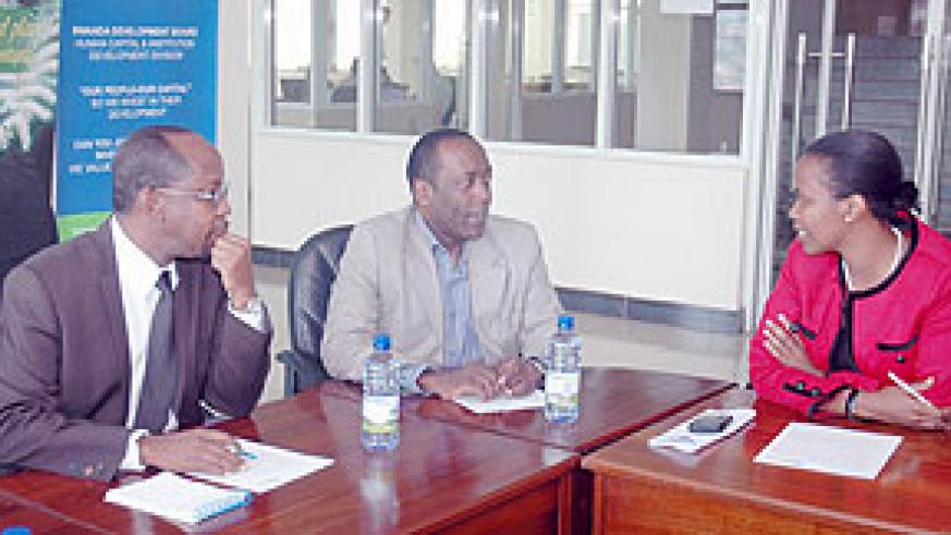 RDB officials John Gara, George Mulamula, Clare Akamanzi. (File photo)