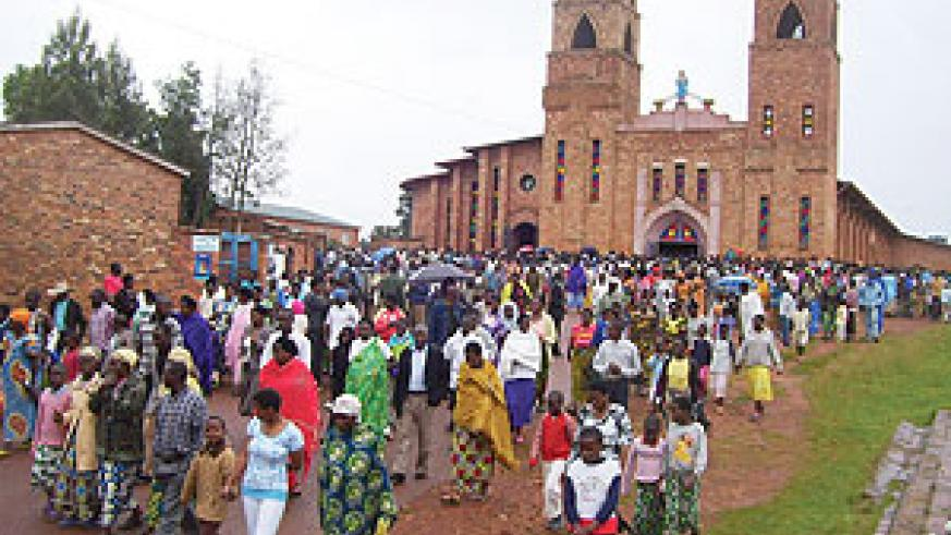 Many Christians turned up for prayers to mark the New Year at Byumba Cathedral.(Photo / A.Gahene)