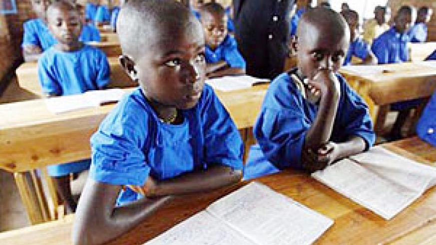 Pupils in class. Kicukiro District has built new classrooms.