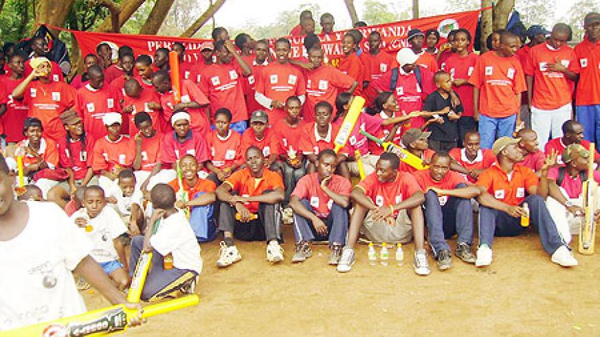 Some of the students from the eight schools that participated in the AIDS campaign.