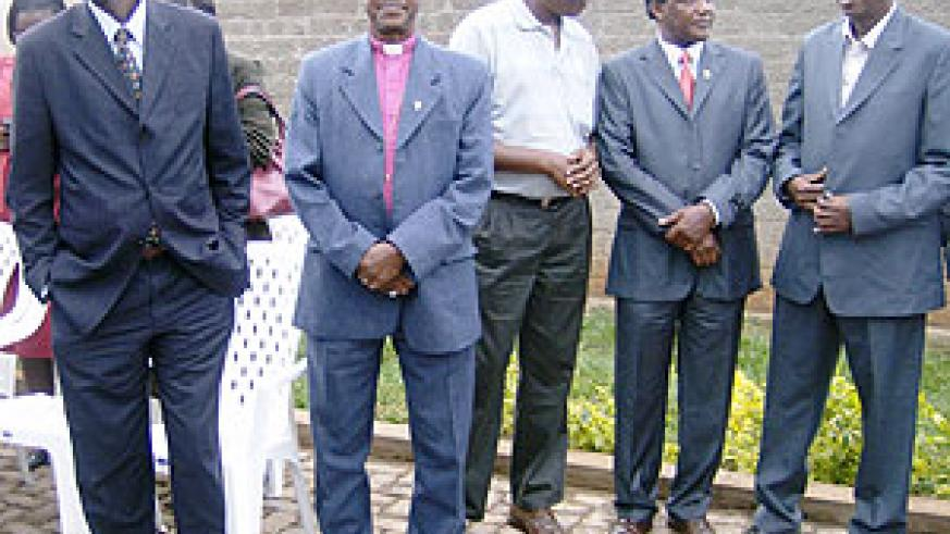 The Governor of Eastern Province Dr. Ephraim Kabaija (L) flanked by officials in the area just prior to the onset of the end of the year party in Rwamagana. (Photo: S. Rwembeho)