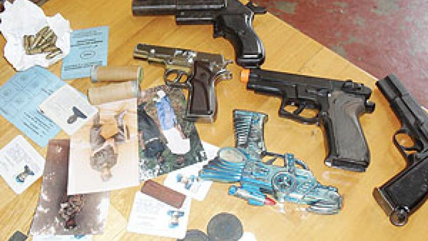 Some of the recovered arms in the ongoing police operation in Kigali city. (Photo/ B. Asiimwe)