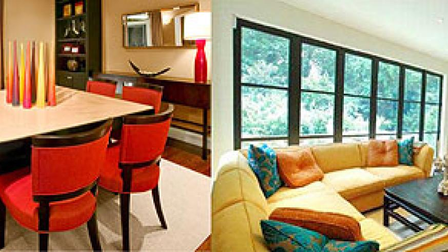 L-R : A dining room should consist of warm colours, they enhance appetite.;A living room where complementary colours are used creates a sociable and welcoming mood.