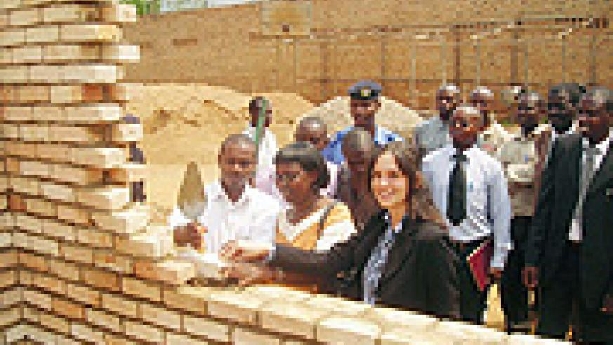 District officials inaugurate the construction of a clasroom block in Karama Sector. (File photo)