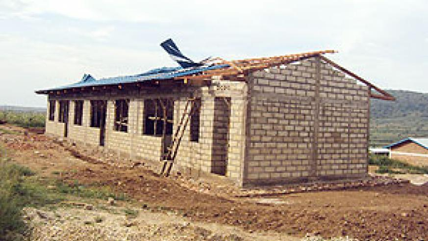 The classroom block whose roof was destroyed by heavy wind at Nyarupfubire Secondary School. (Photo / D. Ngabonziza)