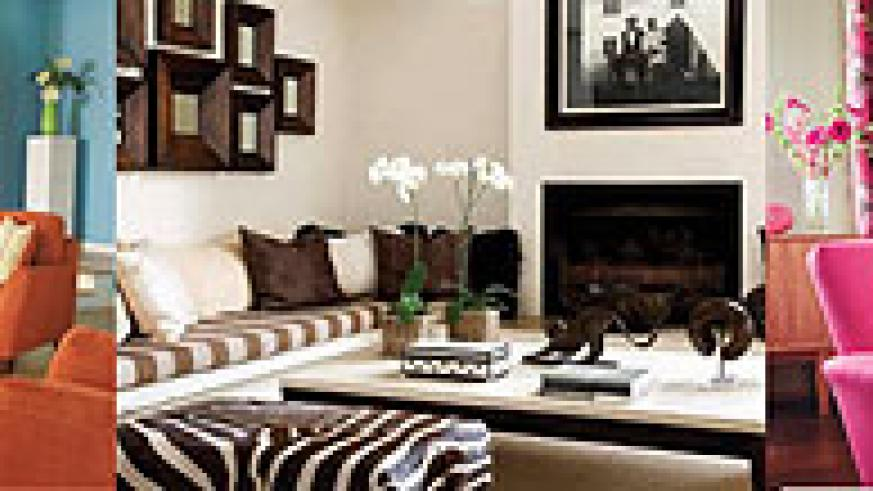 L-R : A living room where a plain sofa set is complemented by cushions of defined prints;A contrasting collection of cushion covers has been used to create diversity;The curtains should match other furnishing and decorative elements in a room.