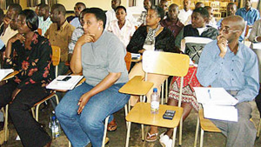Members of the business community listen to lessons from RDB officials. (Photo: S. Rwembeho)
