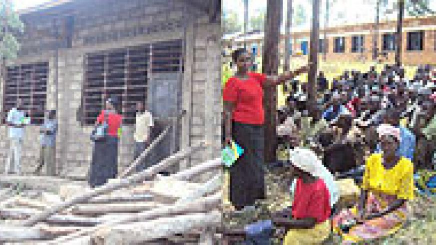 L-R : Karama residents after participating in classroom construction at Gikagati Primary School ;MP Connie Bwiza  speaking to Karama residents on Saturday. (Photo / D. Ngabonziza)