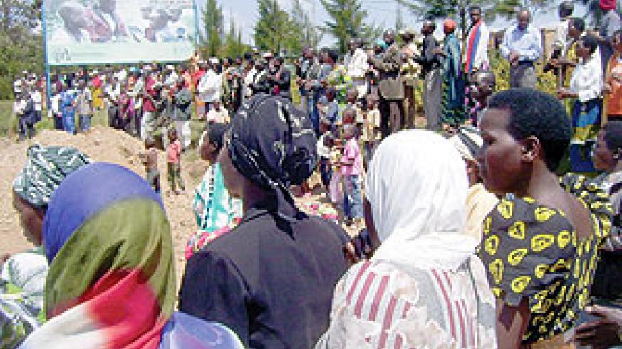 Gacurabwenge village residents singing heroic songs during events to mark Heroes Day on Monday. Photo/ A.Gahene