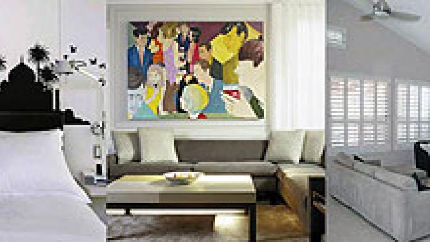 L-R : A bedroom where wall art has been used to enhance the bed, which is the main point of focus ;A colourful art piece and cushions all contribute to drawing attention to the main point of focus, the sofa ;Integrate your TV set into a focal point, it wo