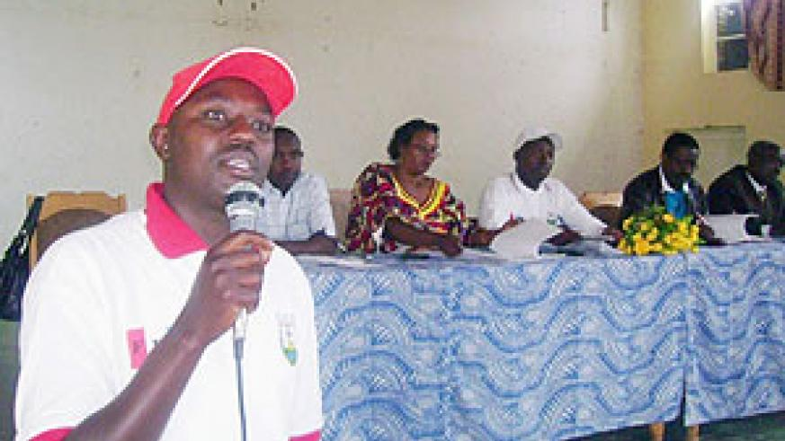 Nyamabuye sector leader, Jean Baptiste Mugunga calls on RPF members to educate residents on government programs. (Photo: D. Sabiiti)