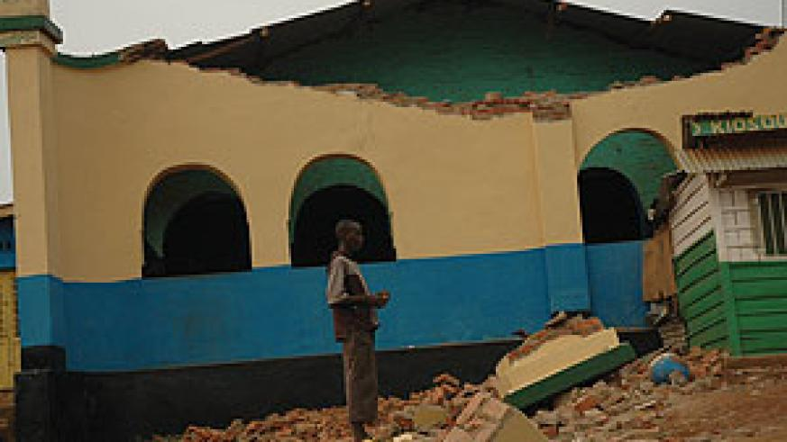 Some of the buildings destroyed  by the 2008 earthquake in Rusizi.