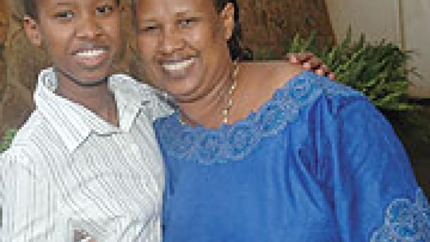 Keren Neza with her Mother pictured immediately after the release of the O'level results. (File Photo)