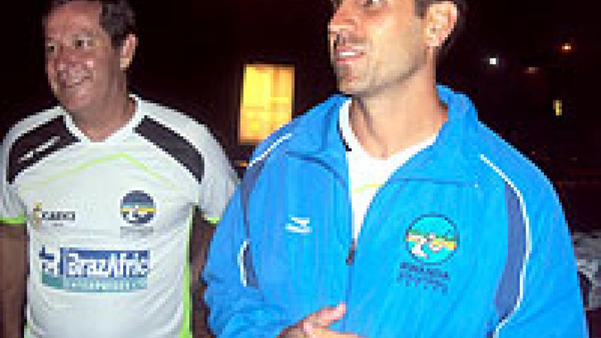 Current headcoach Paulo de Tarso Milarge with his assistant Rubens Bordinhon after arriving in the county on Tuesday.(Photo / B. Mugabe)