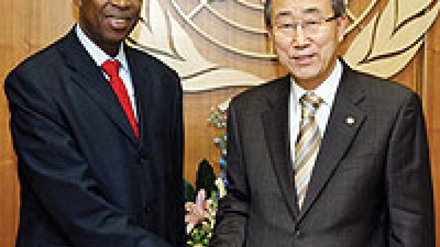 Secretary General, Ban Ki-moon receives  Joseph Mutaboba shortly after being appointed as  UN Special Envoy to Guinea-Bissau. (UN Photo )