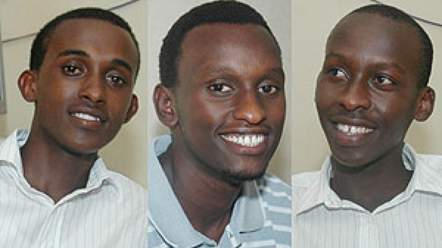 L-R : Denis Bisangwa ; Happy Boy-Michael Ngamije ; TRIUMPHANT:  Aloys Nsereko (All Photos J Mbanda)