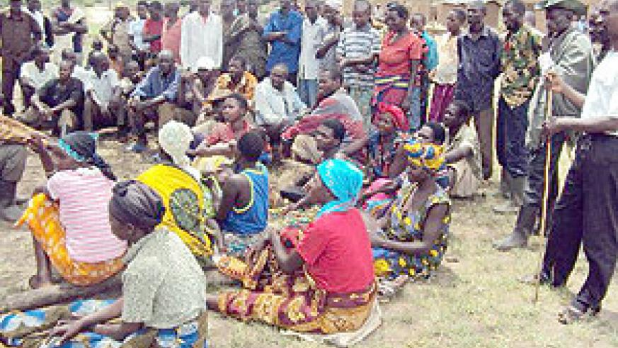 Kirebe cell residents waiting for their wages from cash for work project. (Photo / D. Ngabonziza)