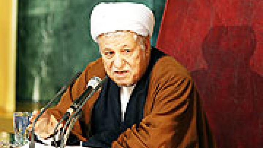 Former Iranian President Ali Akbar Hashemi Rafsanjani delivers a speech during a meeting of the top clerical body in Tehran on Feb. 23, 2010