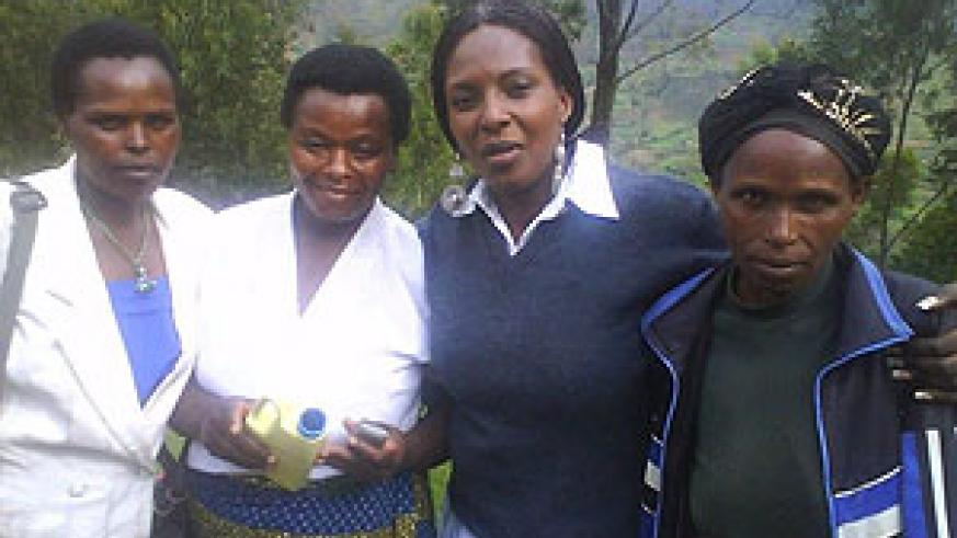 Aline Mukabalisa, (2nd Right) with some of the successful rural women in Muhanga.Photo D.Sabiiti