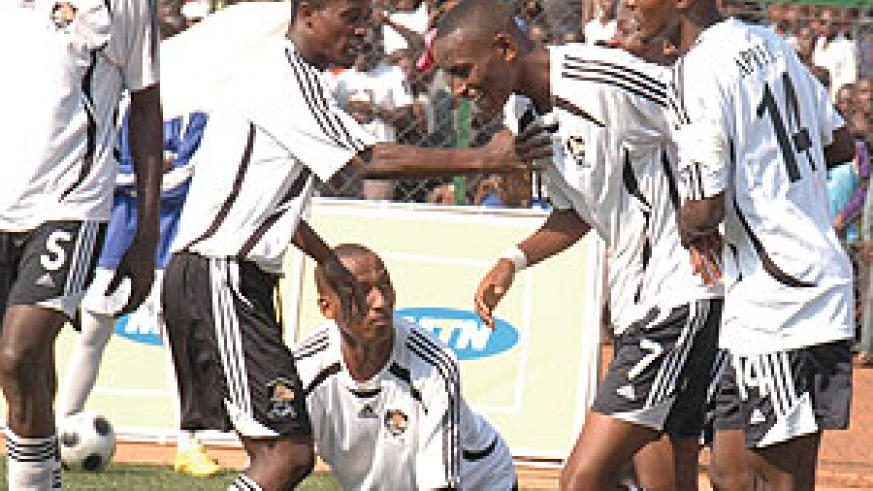 APR players celebrate after scoring in the national league. The team is in for a tough test against TP Mazembe. (File Photo)